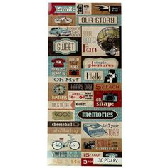 Kelly Panacci Inc. / K & Company Eclectic Word Embossed Stickers at Hobby Lobby Art Craft Store, Craft Stores, Sticker Shop, Best Memories, Hobby Lobby, Paper Design, Emboss, Custom Stickers, How To Find Out