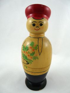 "Vintage Souvenir Russian Container Doll Two Piece Wood 7"" Tall"