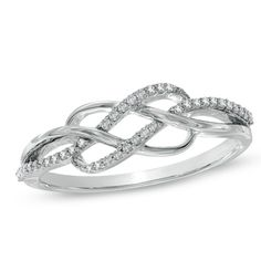 1/8 CT. T.W. Diamond Infinity Lace Ring in 10K White Gold