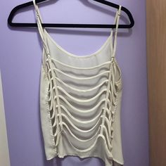 Open back tank top Chiffon tank top with caged back great condition worn maybe twice (: LF Tops Tank Tops