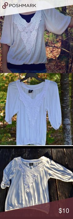 White Crochet Bobeau Shirt This cute shirt is nice and flows and has a beautiful lace front. It has a small mark on one of it sleeves. Where the sleeve attaches to the body of the shirt, there is a small hole, though it isn't notable when wearing it. bobeau Tops Blouses
