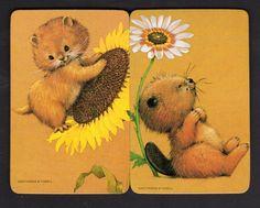 Vintage Swap Cards - Cute Animals Pair (BLANK BACKS)