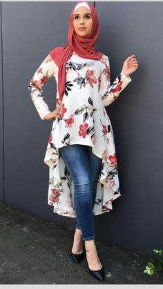 Waterfall-tunic with red flowers and red hijab waterfall-style tied - check out: Esma <3