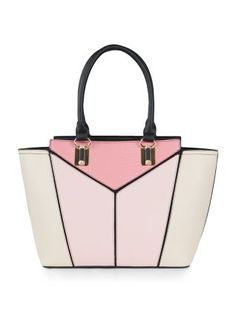 Pink Geometric Panelled Tote Bag | New Look
