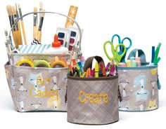 Thirty-one's Creative Caddy & Oh-Snap bins are perfect for Craft Storage and organization! Pictured Patterns: Fox Trot and Taupe Cross Pop