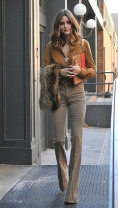 Fur and wide-leg pants.