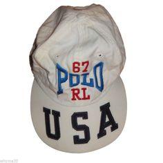d3638cbd5d8 Vintage Ralph Lauren Polo Sport USA on Rim Polo RL White Cap Hat One Size in