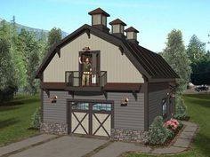Beau 007G 0020: Garage Plan With Flex Space Features Office And Gambrel Roof  Gambrel Barn