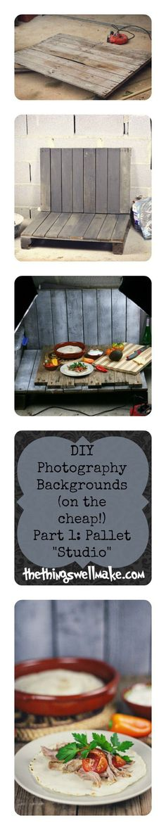 Looking for an inexpensive way to make yourself a variety of backgrounds for your food and small object photography? Make sure to read the post for lots of ideas for taking better food and craft photos for your blog… Or take better pictures for selling small items on ebay… Part 1… Make yourself a pallet studio- on the cheap, and see how you can change it up! This links to a part 2 with great ideas for other inexpensive photo backgrounds!