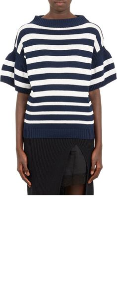 Sacai Bell-Sleeve Stripe Sweater at Barneys.com