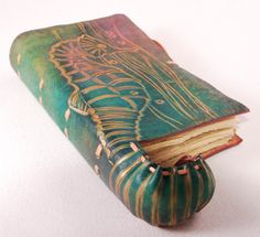 Colorful Seahorse Tale Leather Journal / Diary/ by GILDBookbinders, $85.00