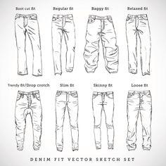 Skinny - es extra ajustado.Slim - ajustado en los muslos y el trasero. Regular - ajustado en los muslos y el trasero y espacioso en las piernas. Relaxed - espacioso pero no extremadamente. Loose o baggy - muy espacioso por todos lados.Trendy - es holgado pero con los talones cerrados.