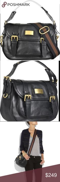 {Marc/Marc Jacobs} Saddlery Sophie Convertible Bag This Incredible MBMJ satchel has a brown & black striped canvas shoulder strap w/ hook fastenings, a logo-engraved gold plaque at front, a concealed front pouch pocket, a short top handle w/ double buckle fastenings either side, internal zip-fastening compartment, pouch pockets, and a navy & white polka-dot lining. Works as a Crossbody with the long strap OR a satchel with the top handle. So versatile; classic chic. Minimal wear, NO damage…