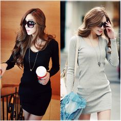 Fashion Women Long Sleeve V-Neck Casual Slim Party Winter Sweater Knit Dress #Unbranded #SweaterDress #Casual