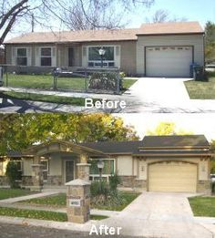 Before And After Facelifts For Home From Plain Ranch To Craftsman Style Landscaping