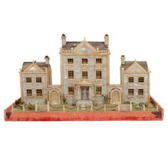 Victorian Mother of Pearl Model of a House, England, Century. Offered by Yale R. Victorian Dolls, Victorian Dollhouse, Dollhouse Kits, Dollhouse Miniatures, Garden Nook, English Manor Houses, Outdoor Office, England, Miniature Houses