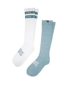 230c20ef8 Victoria s Secret PINK! Knee High Socks 2 Pairs Brilliant Ink Grey Marled