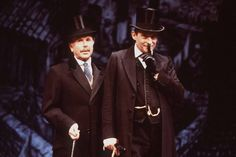 "Still from Jeremy Paul's ""The Secret of Sherlock Holmes"" West End stage production with Jeremy Brett and Edward Hardwicke, 1989."