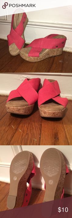 Merona Cork Wedge Sandal Coral Size 7 Coral cris-cross slip on cork wedge sandal. These are in excellent condition. Barely worn! Size 7 Merona Shoes Wedges
