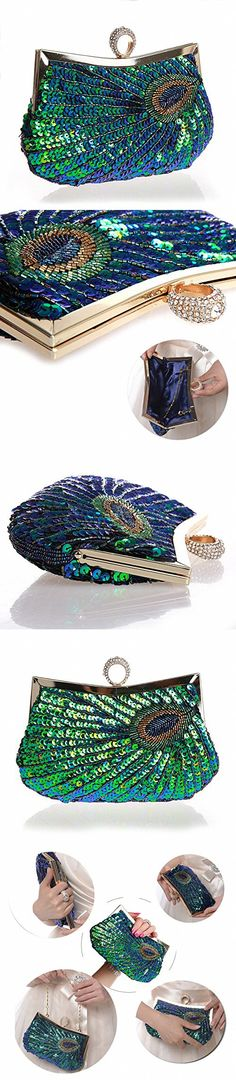 Pulama Woman Handbag Beaded Clutch PEACOCK SEQUINS Purse/Wallet/Evening Bag, Handmade for Wedding Party (Ring)