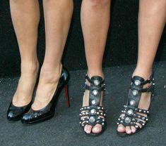 113c859bca52 Paris in Christian Louboutin and Nicky in an edgier pair of studded  Giuseppe Zanotti for Balmain sandals
