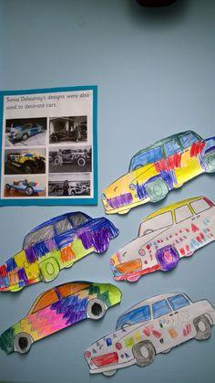 Sonia Delaunay inspired car design art.