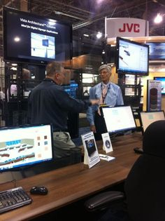 Application Engineer Dean Wheelan demonstrates the VisionFrame Video Monitor Wall