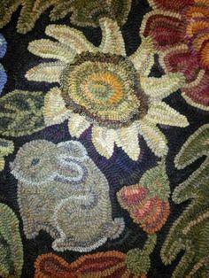 A closer look - Karen Kahle's A Secret Garden. Hooked by Nancy Bachand