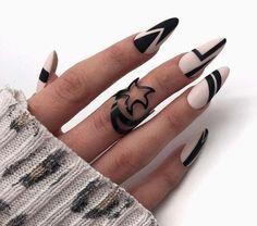 Edgy Nails, Get Nails, Stylish Nails, Trendy Nails, Nagellack Design, Nagellack Trends, Oval Acrylic Nails, Acrylic Nail Designs, Nail Design Stiletto