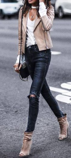 what to wear rips : nude biker jacket + top + bag + heels
