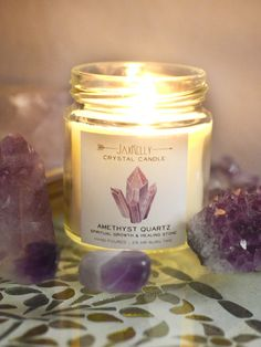 Burn your Amethyst Crystal Candle in your sacred space or bedroom to promote calming, relaxing and soothing energies. With a hidden gem inside, it will help to deepen your meditation or promote restful sleep.