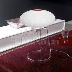 Emporium Scilla Tavolo, Struttura in metallo verniciato bianco, decoro in metacrilato trasparente nei colori bianco satinato e rosso.