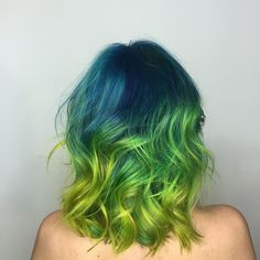 Pravana vivid blue color with neon yellow ombre by Chita Beseau