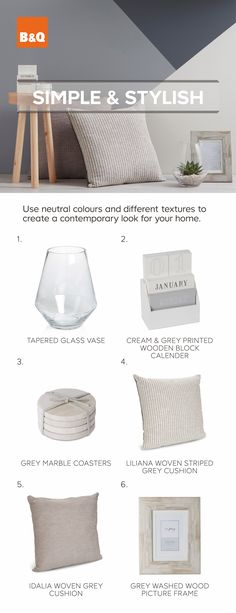 Team neutral colours with different textures to create a contemporary look for your home.