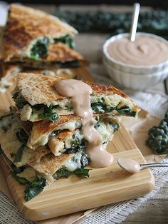 Smashed white bean and kale quesadillas with creamy BBQ