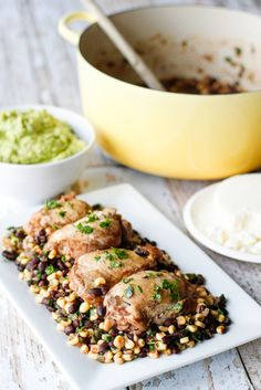One Pot Cilantro Lime Chicken w/ Corn & Black Beans -- prepare this flavorful cilantro lime chicken with a side of corn and black beans all in one pot for super easy cleanup!!!