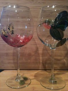 Feather flower and hummingbird wine glasses