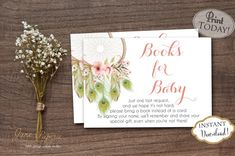 Bring A Book cards are a great addition to your baby shower! Great idea to have your guests bring a book instead of a card. Mail these insert cards along with the baby shower invitations to help build the new baby's library.   INSTANT DOWNLOAD - Bring a Book Instead of Card Insert Pink Boho Peacock Feathers Dreamcatcher Baby Shower. Find more coordinating printables at JanePaperie: https://www.etsy.com/shop/JanePaperie