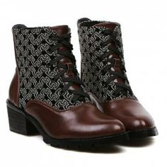$19.31 British Style Women's Short Boots With Splice and Embroidery Design
