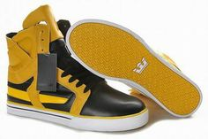Men Yellow and Black Skytop II Supra Shoes - Supras High Top
