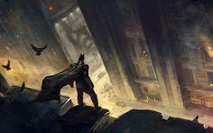 The Dark Knight looking down on Gotham City