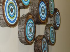 neon painted wood slices | 10 Painted Wood Slices, Beach House Decor, Tree Branch Slices ...