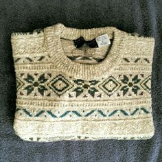 "Vintage Fair Isle Sweater! I fell in love with this sweater and only wore it a handful of times. It's nice, warm, and in excellent condition from the early 1990's.  Large, 60% wool and 40% cotton, can dry clean or hand wash. It's kind of a sand color with plum, olive, and teal. Measures: 29"" long; 46"" bust. Van Heusen Sweaters Crew & Scoop Necks"
