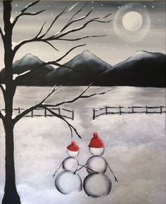 We host painting events at local bars. Come join us for a Paint Nite Party! Easy Canvas Painting, Winter Painting, Winter Art, Canvas Art, Canvas Ideas, Body Painting, Christmas Paintings On Canvas, Christmas Canvas, Christmas Art