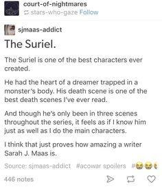 """This is so true. I cried so much when the suriel died because it forced me to remember that even a """"monster"""" could dream."""