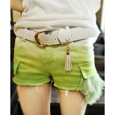 Green Gradient Denim Kniker Shorts With Mesh Flower ($56) ❤ liked on Polyvore