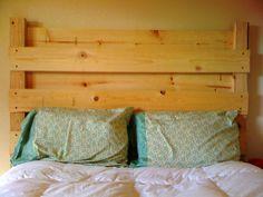 Homemade Headboard west elm bedding + homemade pellet headboard = perfect!   home