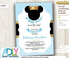 Prince Mickey Baby Shower Invitation baby di aoprintablesforkids
