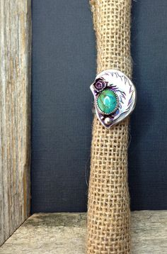 Feather Turquoise Ring in Sterling Silver Made to by sprout1world