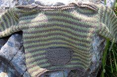 Pull rayé beige et vert pistache pour bébé tricoté main : Mode Bébé par…